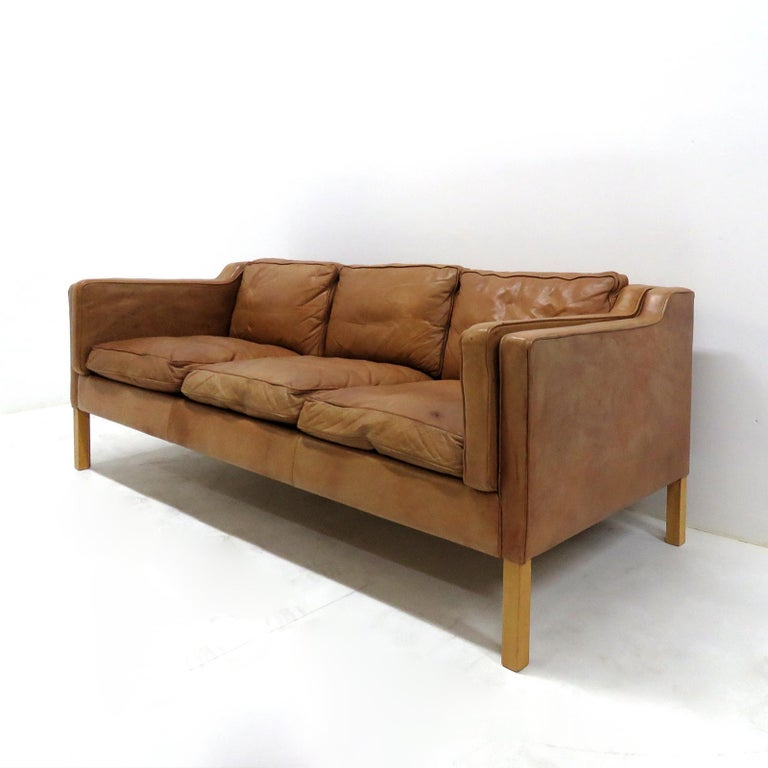 Danish Leather Sofa, 1960 In Good Condition In Los Angeles, CA