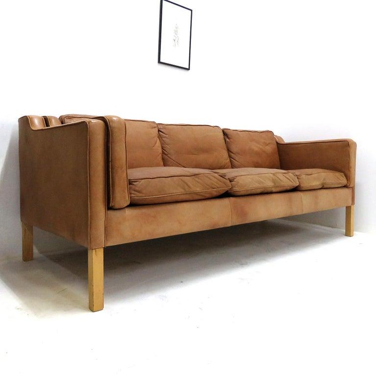 Danish Leather Sofa, 1960 1