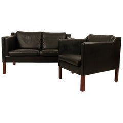 Danish Leather Sofa and Chair by Skipper, 1980s