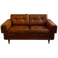 Danish Leather Two-Seat Sofa