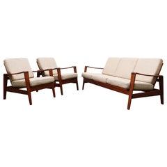 Danish Living Room Set by Arne Wahl Iversen for Komfort Denmark 1960s Teak Beige