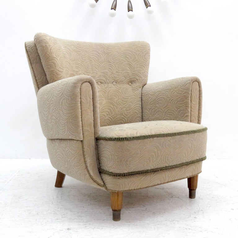 Danish Lounge Chair, 1940s In Excellent Condition For Sale In Los Angeles, CA