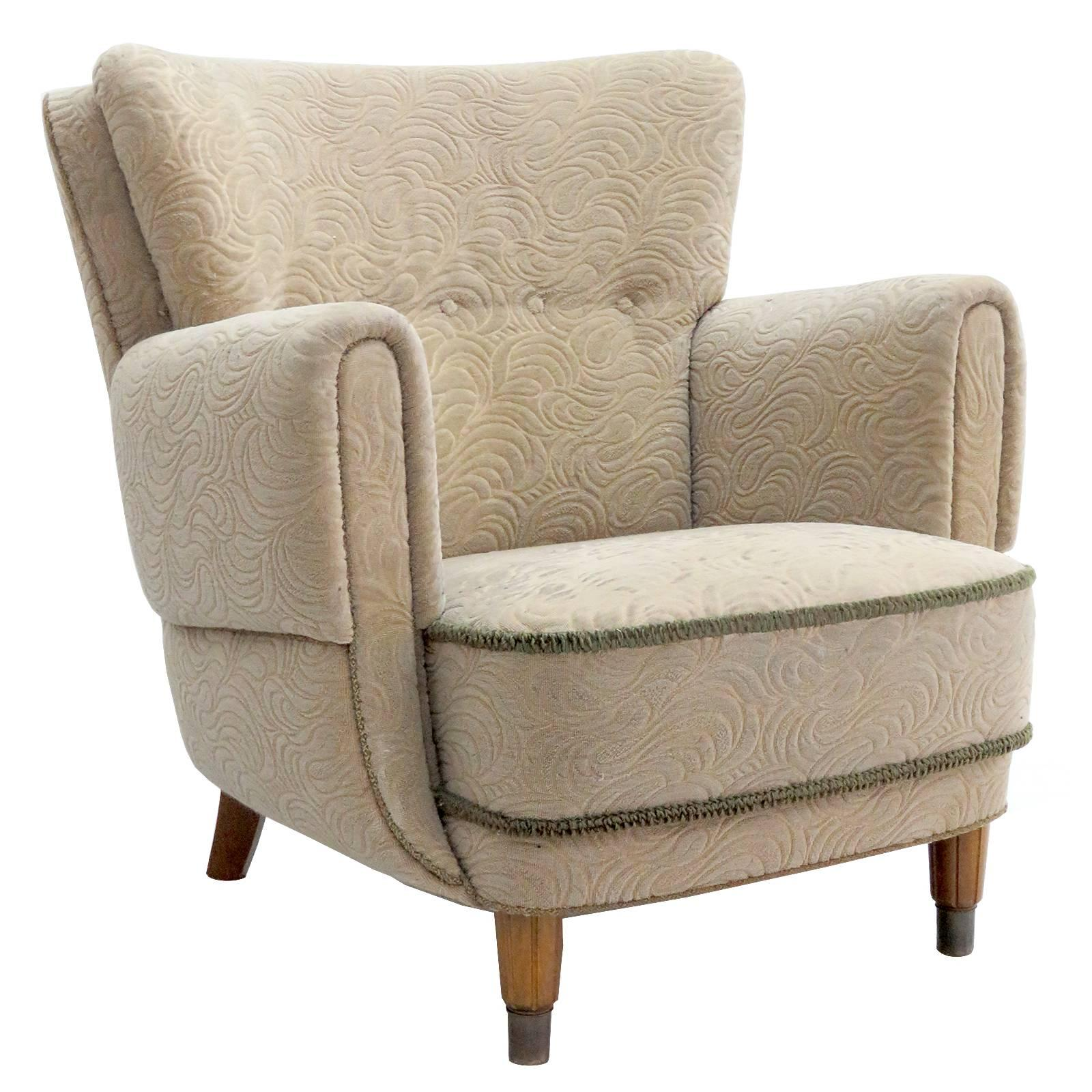 Danish Lounge Chair, 1940s For Sale