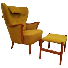 Danish Lounge Chair, 1960s, Wool, Beech, Completely Restored