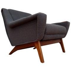 Danish Lounge Chair, 1960s, Wool, Teak, Oak, Completely Restored
