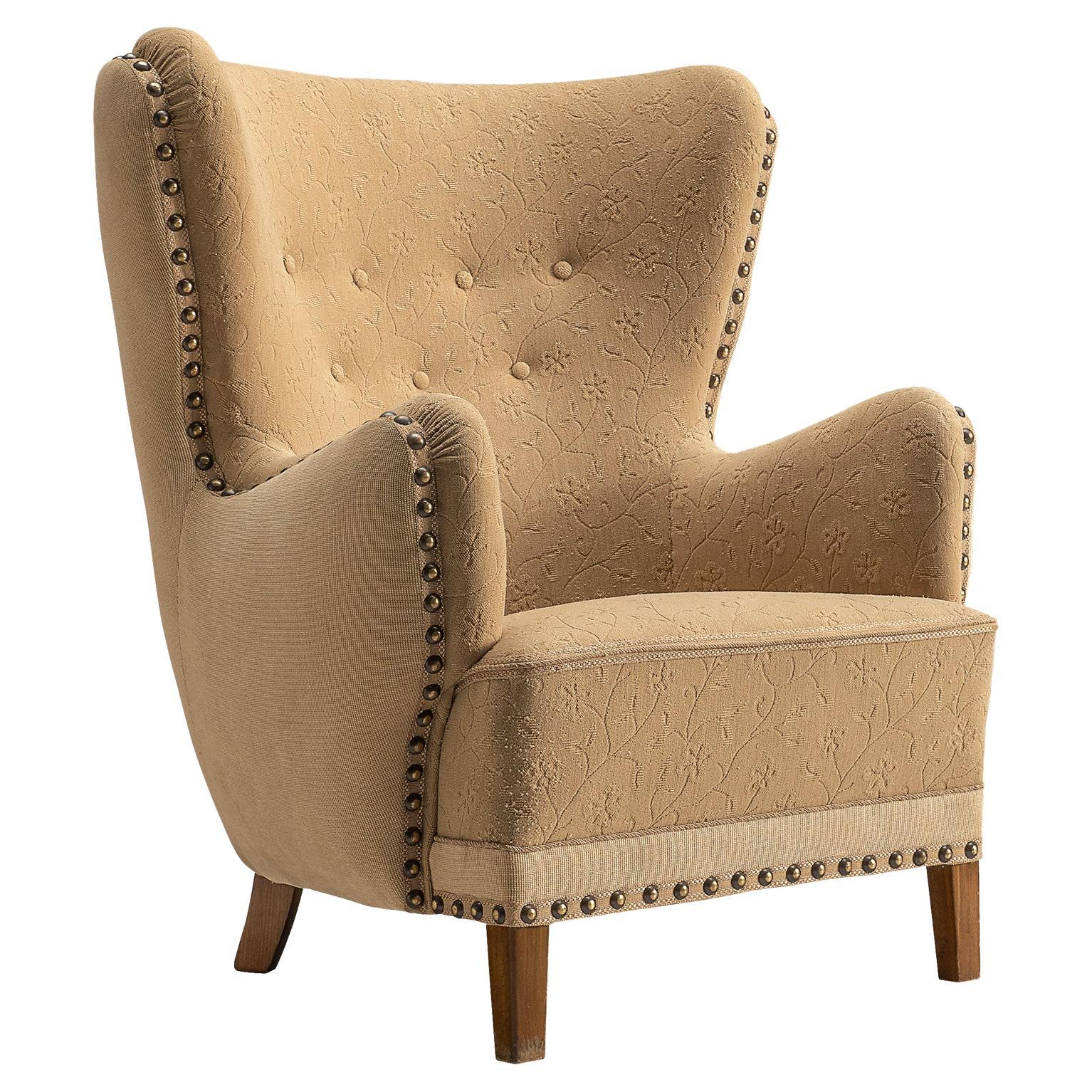 Danish Lounge Chair in Beige Upholstery