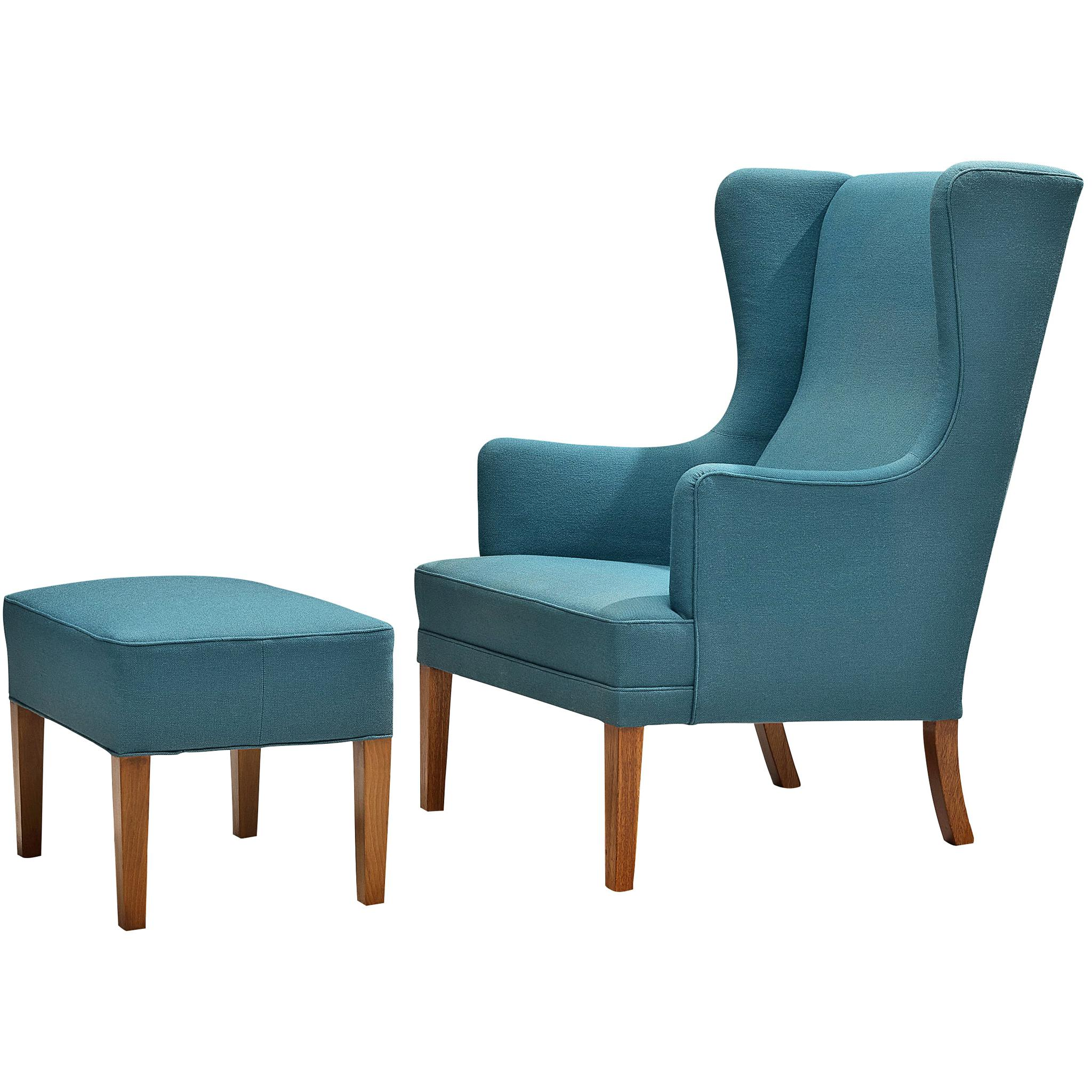 Danish Lounge Chair in Blue Upholstery