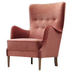 Danish Lounge Chair in Pink Fabric