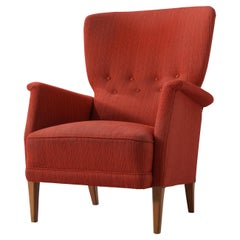 Danish Lounge Chair in Red Upholstery