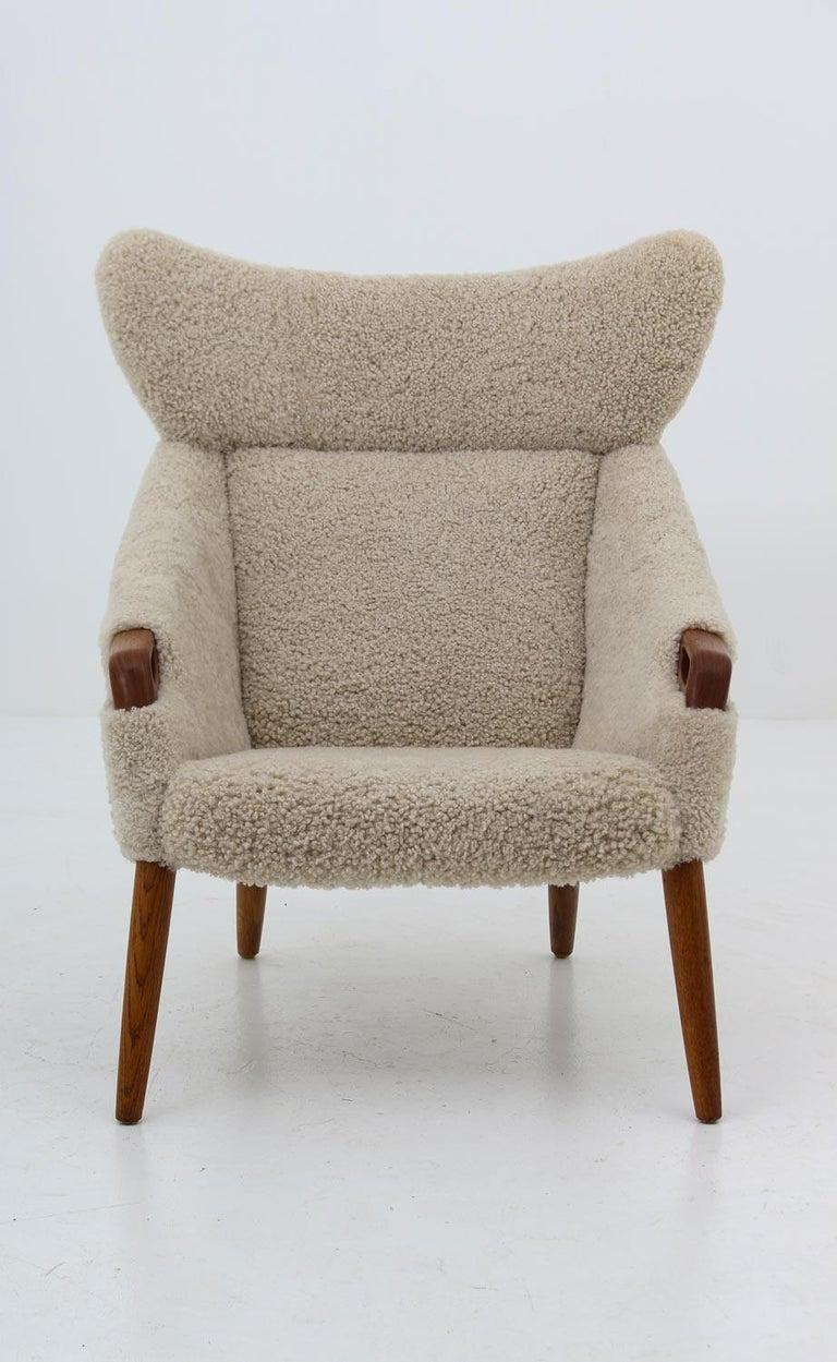 Danish Lounge Chair in Sheepskin, Model 55 by Kurt Østervig For Sale 2