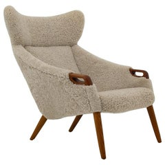 Danish Lounge Chair in Sheepskin, Model 55 by Kurt Østervig