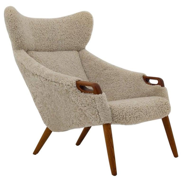 Danish Lounge Chair in Sheepskin, Model 55 by Kurt Østervig For Sale