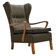 Danish Lounge Chair in Striped Upholstery