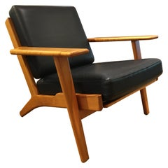 Danish Lounge Chair Solid Cherry Tree Ge290 by Hans J. Wegner with Black Leather