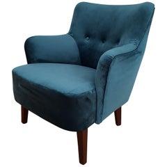 Danish Lounge Chair, Velour, 1970s, Completely Restored