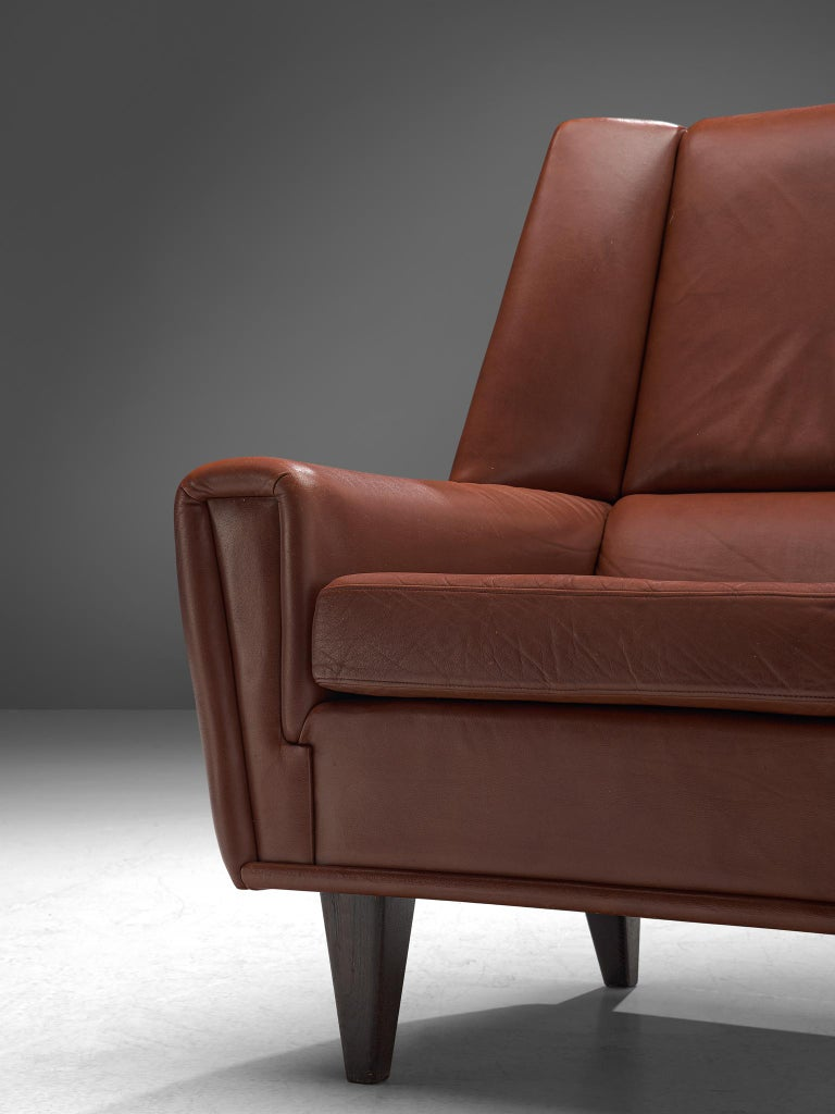 Danish Lounge Chair With Ottoman In Brown Cognac Leather