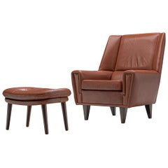 Danish Lounge Chair with Ottoman in Brown Cognac Leather, circa 1960