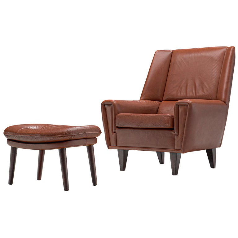 Excellent Danish Lounge Chair With Ottoman In Brown Cognac Leather Circa 1960 Creativecarmelina Interior Chair Design Creativecarmelinacom
