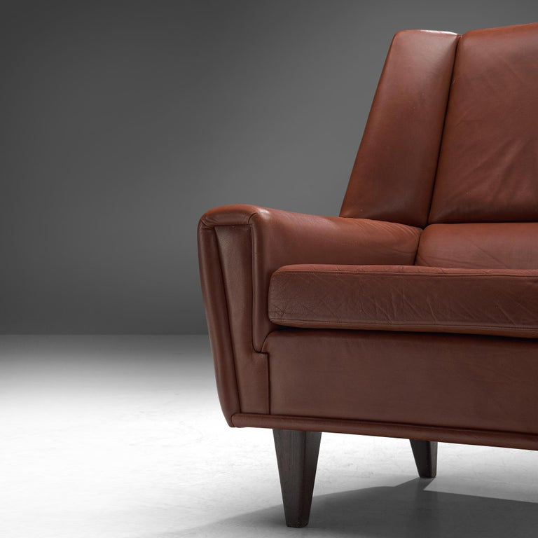 Mid-20th Century Danish Lounge Chair with Ottoman in Leather For Sale