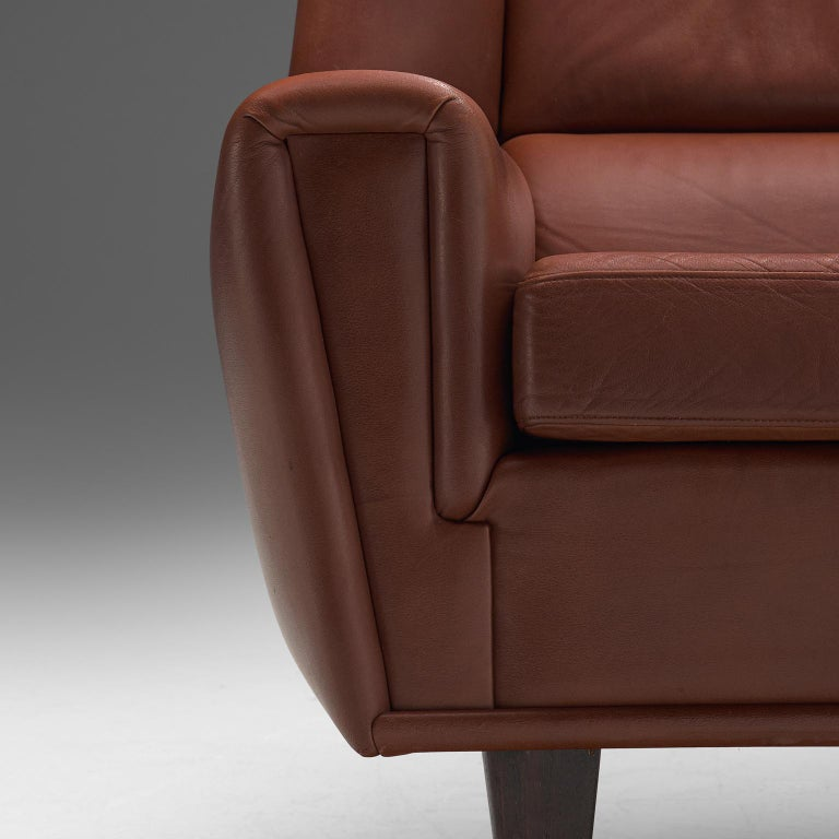 Danish Lounge Chair with Ottoman in Leather For Sale 1
