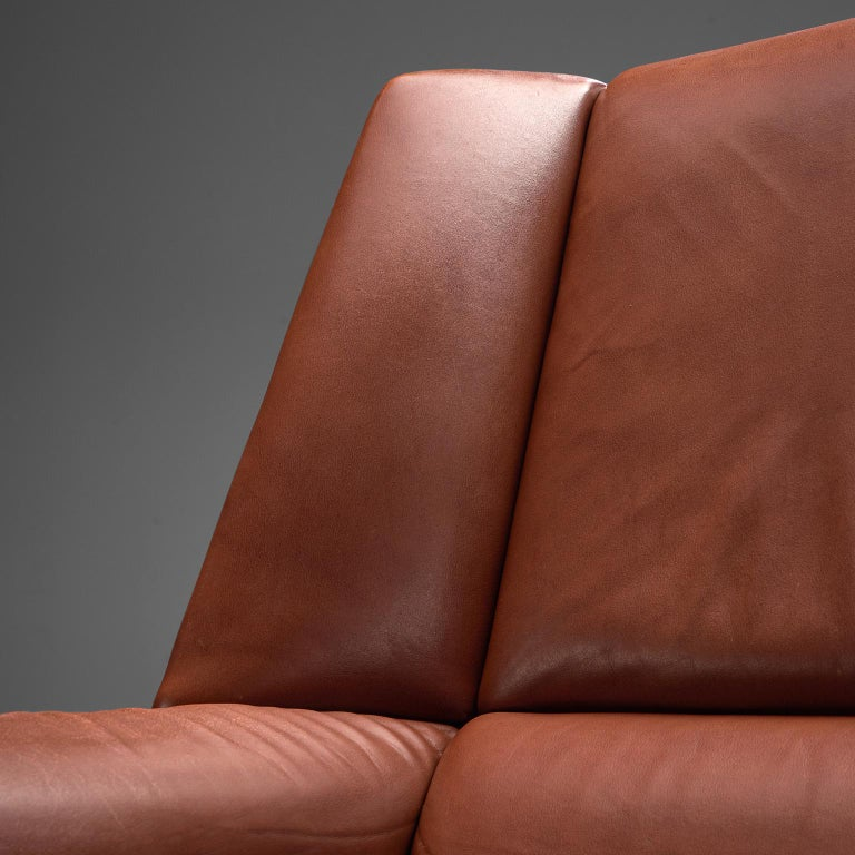 Danish Lounge Chair with Ottoman in Leather For Sale 2