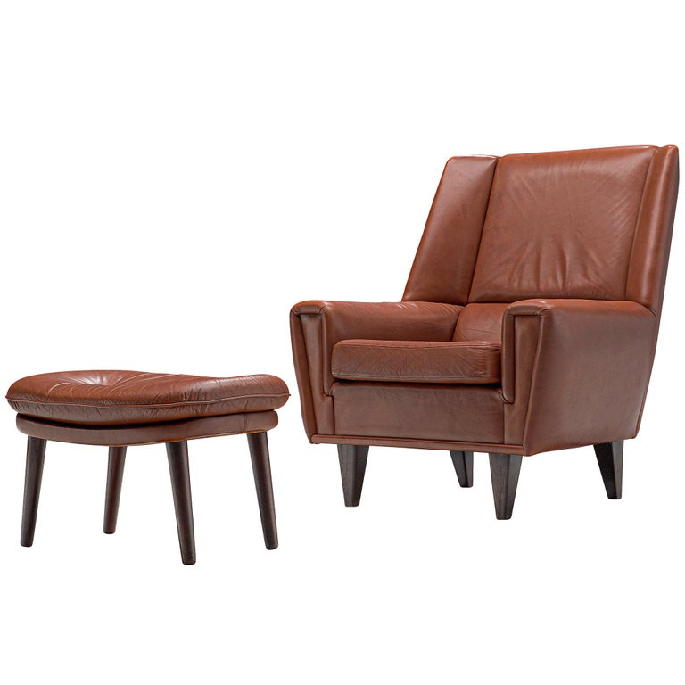 Danish Lounge Chair with Ottoman in Leather For Sale