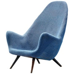Danish Lounge Chair with Sculptural Back in Blue Upholstery