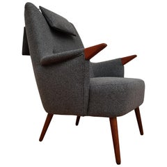 Danish Lounge Chair, Wool, Teakwood, 1960s, Completely Restored