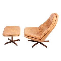 Danish Lounge Swivel Chair in Patinated Leather by Madsen & Schubell