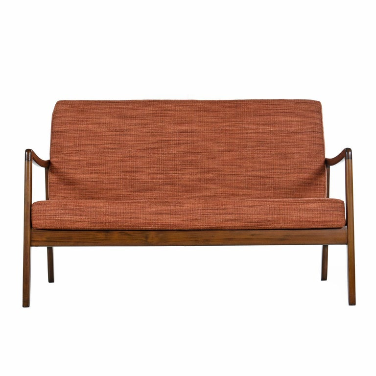 Mid-Century Modern Danish Loveseat Settee Sofa by Ole Wanscher for France & Daverkosen