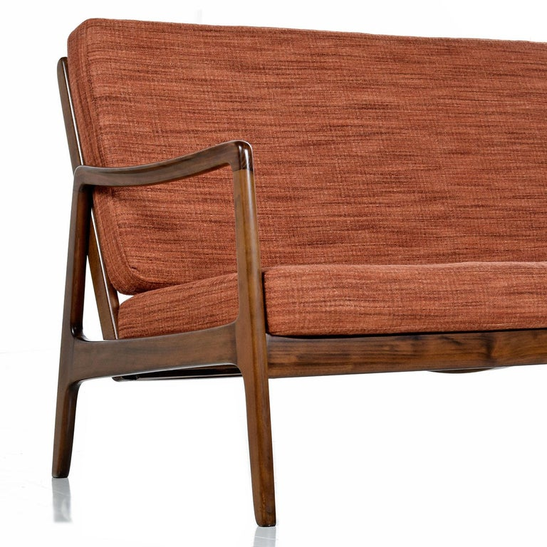 Fabric Danish Loveseat Settee Sofa by Ole Wanscher for France & Daverkosen