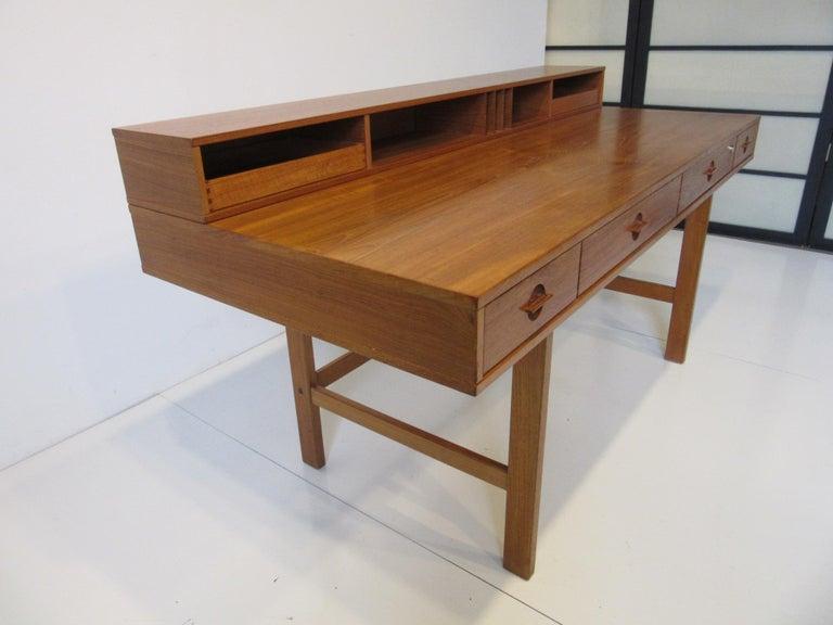 Mid-Century Modern Danish Lovig Flip Top Teak Desk for Dansk  For Sale