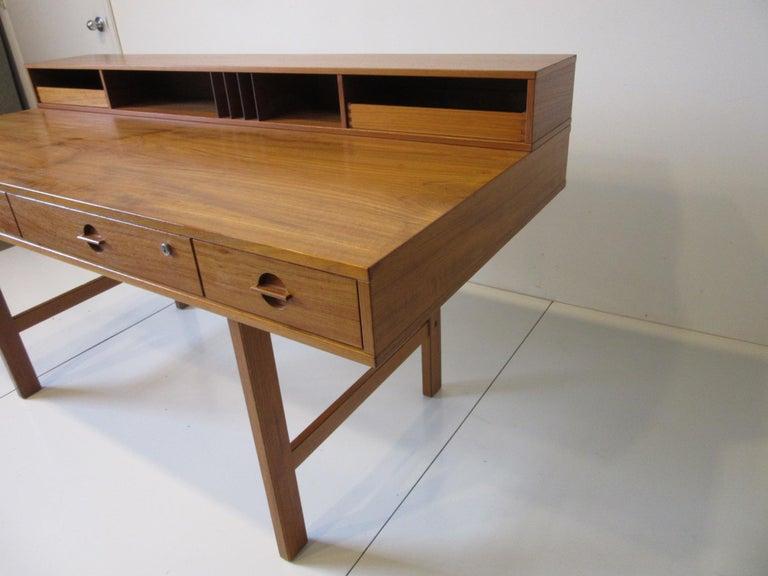 Danish Lovig Flip Top Teak Desk for Dansk  In Good Condition For Sale In Cincinnati, OH