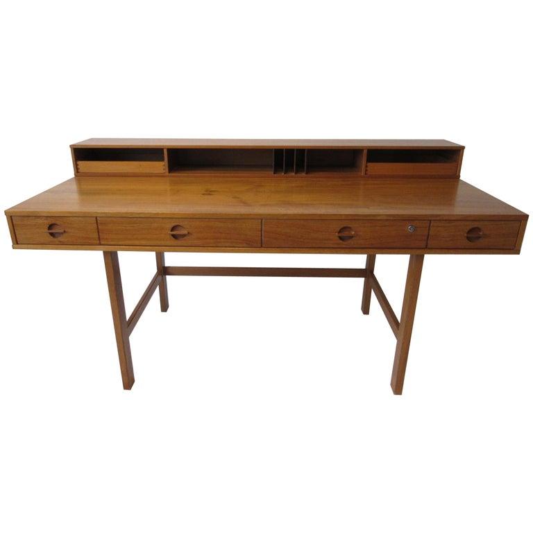 Danish Lovig Flip Top Teak Desk for Dansk  For Sale