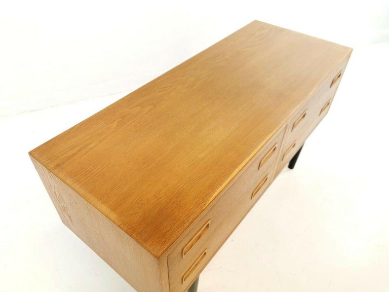 Mid-Century Modern Danish Low Boy Chest of Drawers by Hundevad 1960s-1970s Midcentury Vintage For Sale