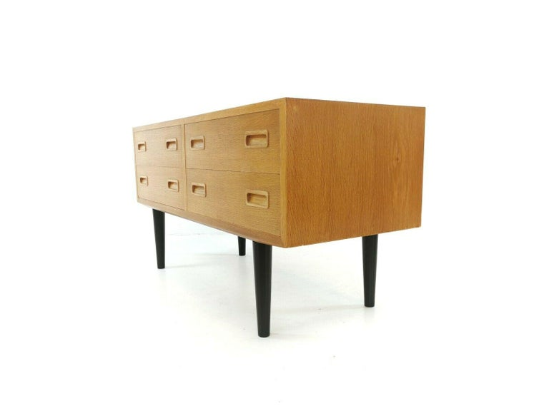 Mid-20th Century Danish Low Boy Chest of Drawers by Hundevad 1960s-1970s Midcentury Vintage For Sale