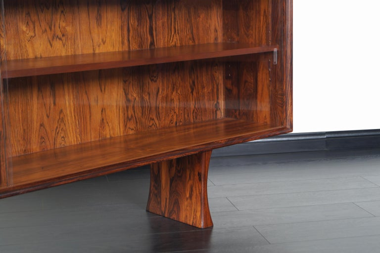 Glass Danish Low Profile Rosewood Bookcase by Bernhard Pederson For Sale