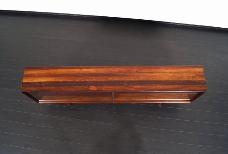 Danish Low Profile Rosewood Bookcase by Bernhard Pederson For Sale 1