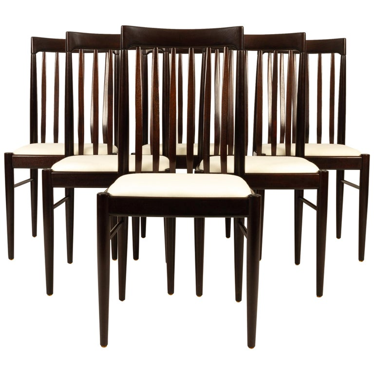 Danish Mahogany Dining Chairs by H. W. Klein for Bramin 1970s Set of 6 For Sale