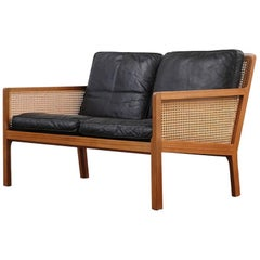 Danish Mahogany, French Cane and Leather Sofa by Bernt Petersen