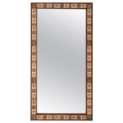 Danish Mahogany Mirror with Tile Surround, c.1970