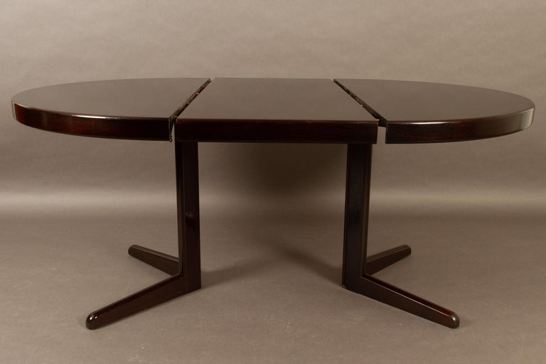 Danish Mahogany Round Extendable Dining Table By H W Klein For Bramin 1970s