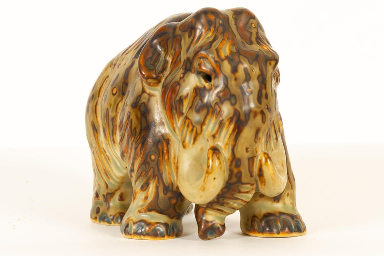 Ceramic Danish Mammoth Figurine by Knud Kyhn for Royal Copenhagen, 1968 For Sale