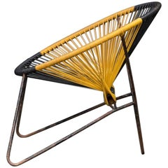 Danish Manufacturer String Chair Yellow Black Acapulco Style