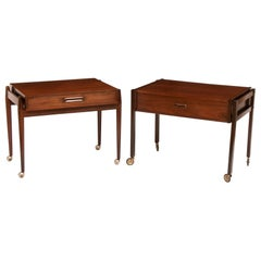 Danish Matched Pair of Rosewood Bedside Trolley Tables, c.1960
