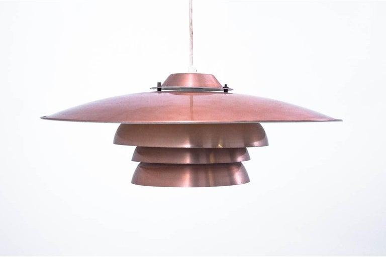 Scandinavian Modern Danish Metal Brass Ceiling Lamp, 1970s For Sale