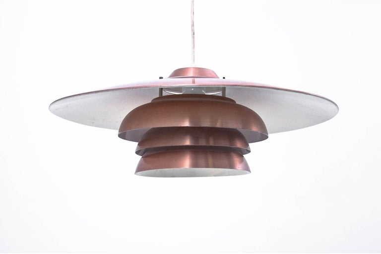 Danish Metal Brass Ceiling Lamp, 1970s In Good Condition For Sale In Chorzów, PL