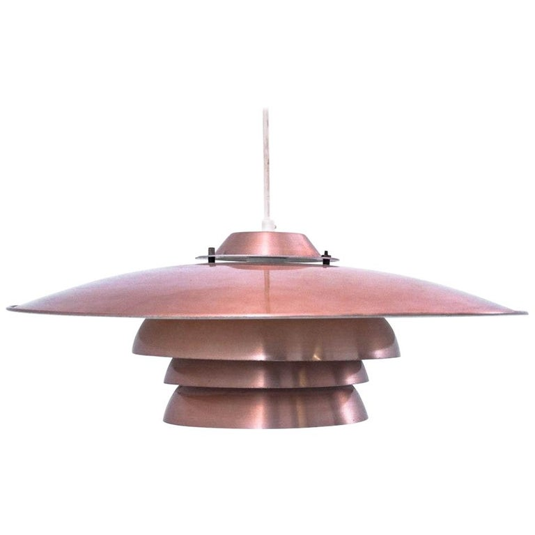 Danish Metal Brass Ceiling Lamp, 1970s For Sale