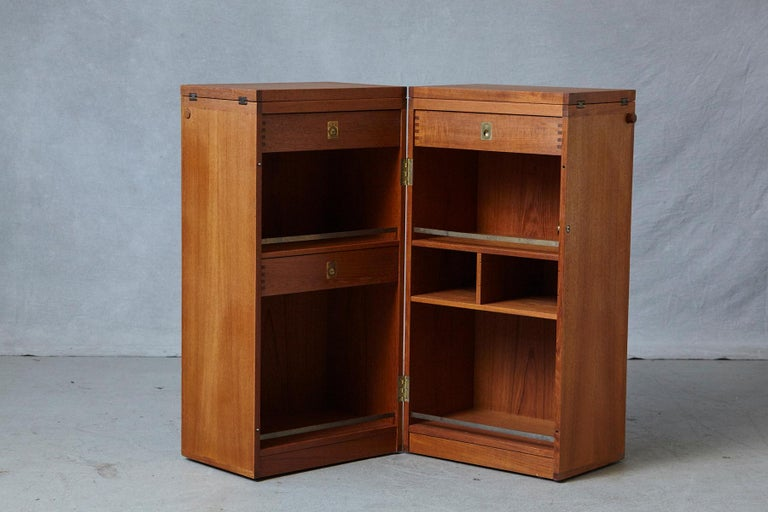 Mid-20th Century Danish Metamorphic 'Captain's Bar' Teak Bar by Reno Wahl Iversen for Dyrlund For Sale