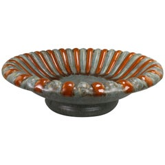 Danish Michael Andersen Art Deco Orange Green Stoneware Centerpiece, 1940s